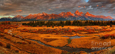 Photograph - Red Teton Peaks Over Fall Foliage by Adam Jewell