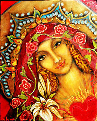 Red Thread Madonna Art Print by Molly Indura