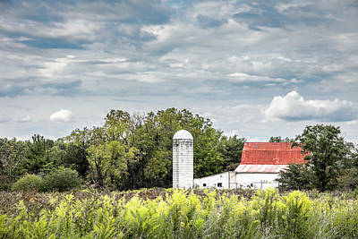 Silos Photograph - Red Tin Roof by Tom Mc Nemar