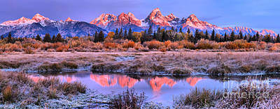 Photograph - Red Tip Teton Reflection Panorama by Adam Jewell