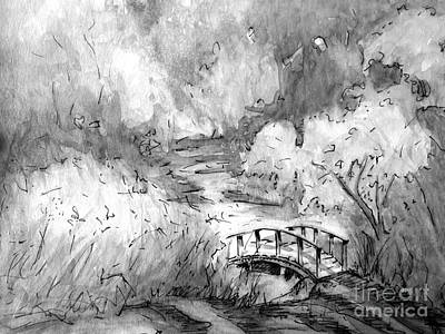 Painting - Red Top Mountain Bridge In Black And White by Gretchen Allen