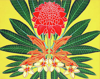Red Torch Ginger Art Print by Debbie Chamberlin