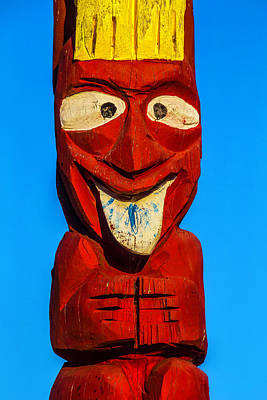 Totem Pole Photograph - Red Totem Pole by Garry Gay