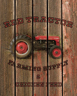 With Red Photograph - Red Tractor Farming Supply by TL Mair