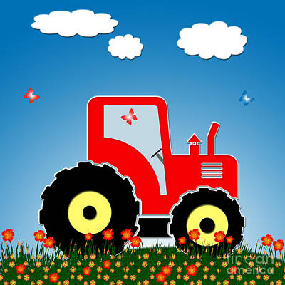 Children Mechanized Digital Art - Red Tractor In A Field by Gaspar Avila