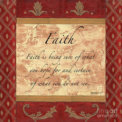 Scripture Painting - Red Traditional Faith by Debbie DeWitt