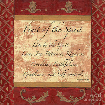 Text Painting - Red Traditional Fruit Of The Spirit by Debbie DeWitt