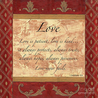 Scripture Painting - Red Traditional Love by Debbie DeWitt