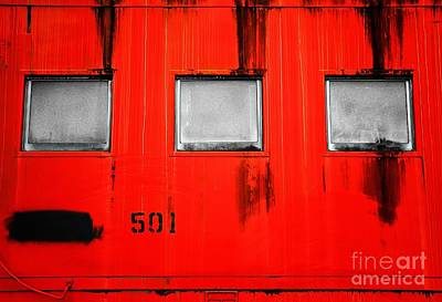 Old Caboose Photograph - Red Train Caboose by Andrew Glisson
