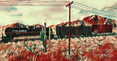 Secondlife Wall Art - Digital Art - Red Train by Evanescence Cuntiva