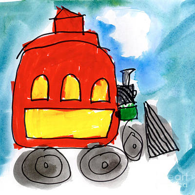 Painting - Red Train by Isabel Tubao Age Five