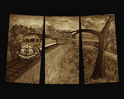 Autumn Leaf On Water Digital Art - Red Train Passage - Sepia by Claude Beaulac