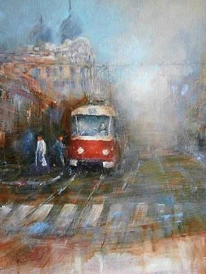 Tram Red Painting - Red Tram by Milos Pucek