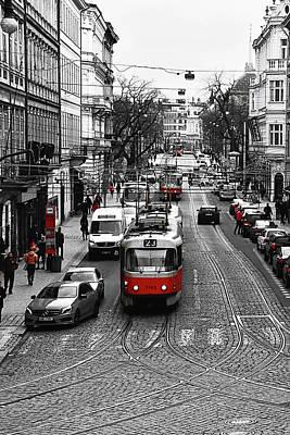 Czech Digital Art - Red Tram Of Prague by Mihaela Pater