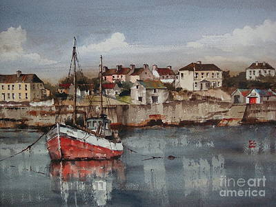 Painting - Red Trawler,innismore, Aran...p0001895 by Val Byrne