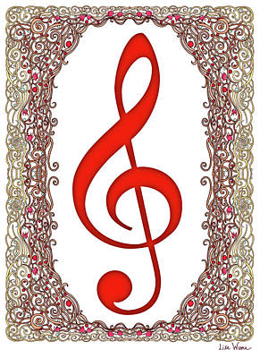 Digital Art - Red Treble Clef With Copper Border by Lise Winne