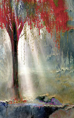 Painting -  Red Tree 1  by Todd Krasovetz