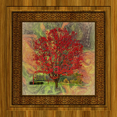 Photograph - Red Tree Abstract With Frame by John M Bailey