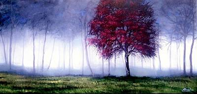 Painting - Red Tree And Misty Forest by Alban Dizdari