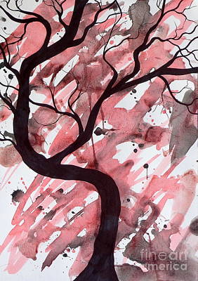 Red Tree Enchantment Art Print