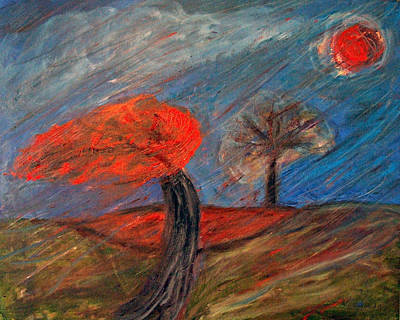 Painting - Red Tree In The Wind by Katt Yanda