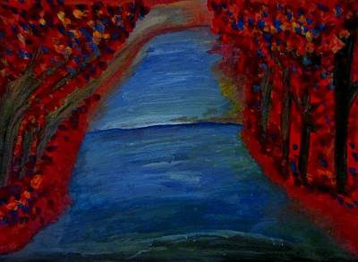 Abstract Expressionism Painting - Red Tree Lake by Stephanie Zelaya