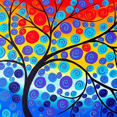 Red Tree Of Life Art Print by Cathy Jacobs