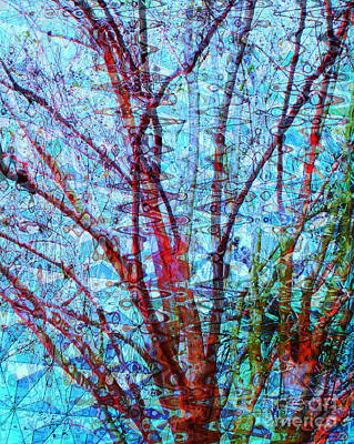 Dry Lake Digital Art - 		Red Tree Over Water			 by Ann Johndro-Collins