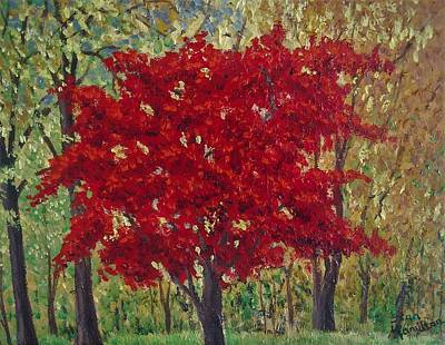 Painting - Red Tree  by Stan Hamilton II