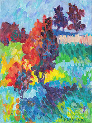 Brilliant Painting - Red Trees Bold And Bright by Peggy Johnson