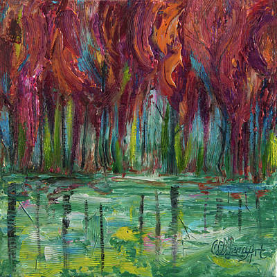 Painting - Red Trees Thick Impasto Abstract  Painting  by Lena  Owens OLena Art
