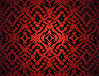 Digital Art - Red Tribal Shapes Pattern by Steve Ball