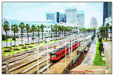 San Diego Convention Center Photograph - Red Trolley Transportation by Nancy Forehand Photography