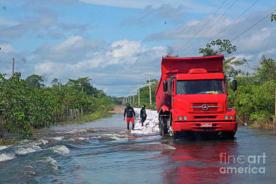 Photograph - Red Truck And Sandbags by Nareeta Martin