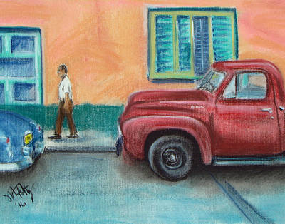 Painting - Red Truck Parked by Michael Foltz