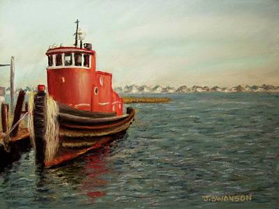 Pastel - Red Tugboat by Joan Swanson