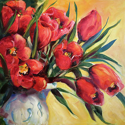 Painting - Red Tulip Kiss by Laurie Pace