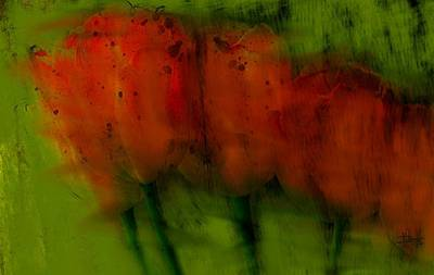 Digital Art - Red Tulips Abstract by Jim Vance