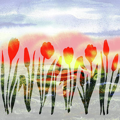 Tulips Watercolor Wall Art - Painting - Red Tulips Abstract Silhouettes by Irina Sztukowski
