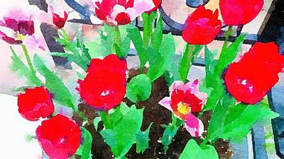 Painting - Red Tulips Abstract Watercolor  by Leah Lambart