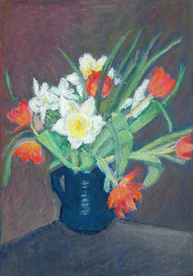 Pastel - Red Tulips And Daffodils by Judy Adamson