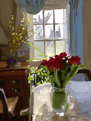 Painting - Red Tulips And Forsythia In East Gloucester, Ma Dining Room by Melissa Abbott