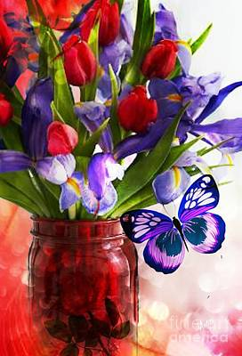 Digital Art - Red Tulips And Purple Irises by Maria Urso