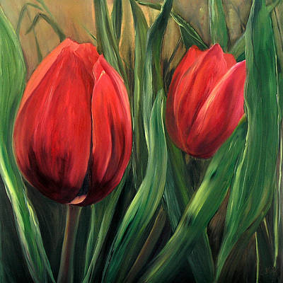 Contemporart Painting - Red Tulips by Cynthia Blair