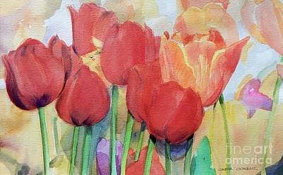 Painting - Watercolor Of Blooming Red Tulips In Spring by Greta Corens