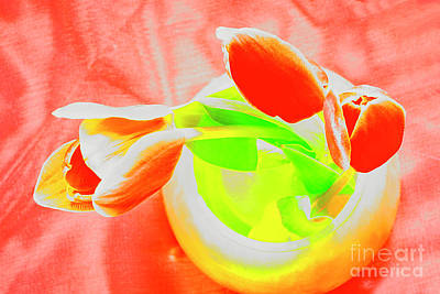 Abstract Animalia - RED TULIPS in VASE in Abstract STYLE # 2. by Alexander Vinogradov