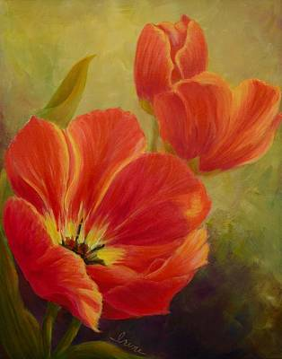 Red Tulips Art Print by Irene Hurdle