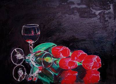 Painting - Red Tulips by Khalid Saeed