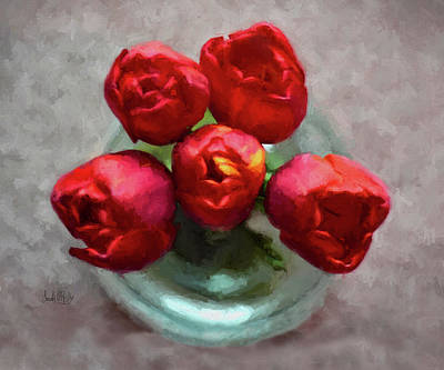 Photograph - Red Tulips Painted Still Life by Sandi OReilly