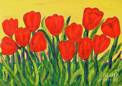 Painting - Red Tulips, Painting by Irina Afonskaya
